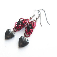 Valentine's Day earrings, Hematite jewelry, Hematite heart earrings, Chainmaille