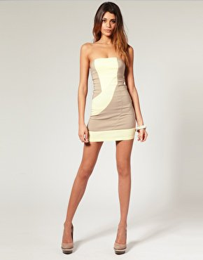 ASOS | ASOS Strapless Dress in Color Block at ASOS