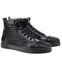 Christian Louboutin Louis Black Spikes Hi-Top Sneakers Black - $180.00