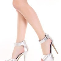Silver Faux Leather Peep Toe Ankle Strap Platform Heels @ Amiclubwear Heel Shoes online store sales:Stiletto Heel Shoes,High Heel Pumps,Womens High Heel Shoes,Prom Shoes,Summer Shoes,Spring Shoes,Spool Heel,Womens Dress Shoes,Prom Heels,Prom Pumps,High He