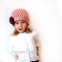 Organic Cotton Beanie Hat   Walnut Strawberry by daisiescrochet