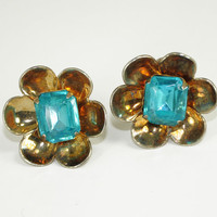 Vintage Sterling Earrings Large Aquamarine Stone