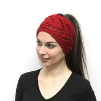 Hand Knit Headband Heartshaped, Knitting Red Headband in Heart Pattern, Head Wrap, Red Earwarmer by Solandia, Valentine's Gift - HbSol001