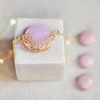 necklace milky lavender pink large jade stone pendant unique gemstone necklace bridal necklace wedding jewelry by YUNILIsmiles