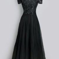 1930's Black Beaded Long Evening Gown Old Hollywood Glamour BLACK LONG EVENING GOWN: vintage 1930's - 40's art deco :
