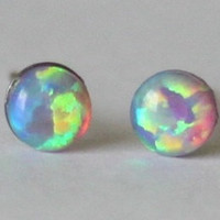 4mm Pink Opal Studs, hypoallergenic Titanium posts, Silicone ear nuts, Cabochon Gemstone post studs