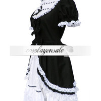 Black And White 65% Cotton 35% Polyester Short Sleeves Front Splitting Ruffled Cosplay Lolita Dress [T110467] - $85.00 : Cosplay, Cosplay Costumes, Lolita Dress, Sweet Lolita