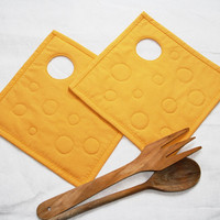 Quilted pot holders Cheese set of 2 by GaliaK on Etsy