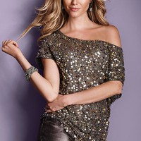 Sequin Off-the-shoulder Top