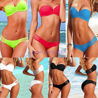 2 Pcs Sexy Women Padded Swimwear Bra bathing Suit Bandeau Bikini Strap S M L