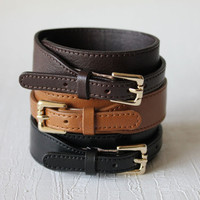 Buckle Closure Leather Braceletminimal style by dasanda on Etsy