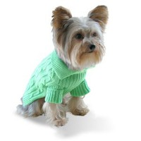 Designer Pet Clothes, Pistachio Green Dog Aran Sweater