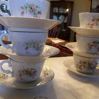 Vintage Germany Teacup and Saucer Sets 6 Six Blue Pink Yellow Blue Floral Gold Trim from Amelie's Farmhouse