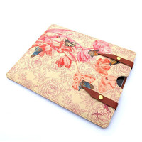 Leather iPad  case - Springtime