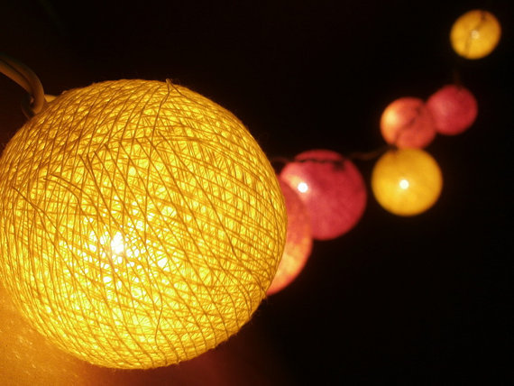 20 x Orange, Light Orange, Yellow color cotton balls string light with 3 m. wire and adapter for room and party decoration