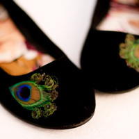Black Peacock Flats  Size 75 by LaPlumeEthere on Etsy