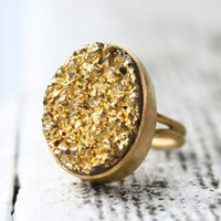 Gold Titanium Druzy Ring