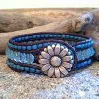 SALE 20% OFF, Montana sky blue leather cuff bracelet, Southwestern Chic