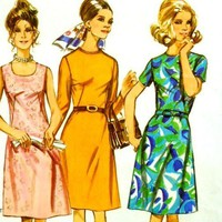 1970s Womens Plus Size A Line Dress Vintage Sewing Pattern, French Darts Mod Styling Simplicity 9466 Half Size Bust 41&quot;