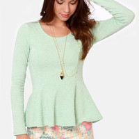 Sweeter Than Heaven Mint Green Peplum Top