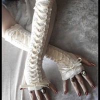 Porcelain Maiden Victorian Corset Laced Up Arm Warmers - Pale Ivory Lace &amp; Ribbon - Vampire Gothic Tribal Goth Lolita Burlesque Bridal Cream