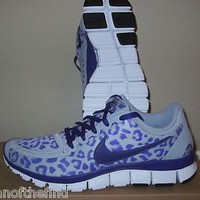Women's NIKE FREE 5.0 V4 Leopard Cheetah Purple Running Shoes Size 10 RARE