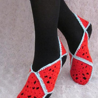 Hand Knitted Slippers by nelliangel on Etsy