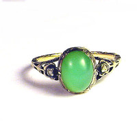 SO ELEGANT Georgian Chrysoprase/Diamond/15k Ring, c.1750! from aestheticengineering on Ruby Lane