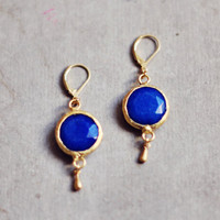 $42.00 everyday earrings navy blue stone in textured by YUNILIsmiles