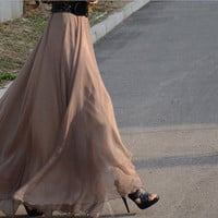 women's gold coffee silk Chiffon 8 meters of skirt circumference  long dress maxi skirt qz02