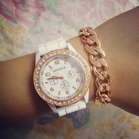 Rose Gold &amp; White Rhinestone Rubber Strap Watch