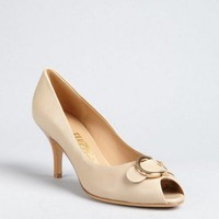 Salvatore Ferragamo beige leather 'Brigitte' gancio buckle peep toe pumps