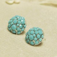 Gem hollow round stud  earrings  from looback