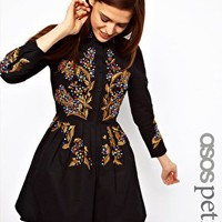 ASOS PETITE Exclusive Embroidered Dress In Cotton Ottoman at asos.com
