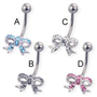 Jeweled bow belly button ring, clear - C: Jewelry: Amazon.com