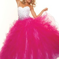Paparazzi by Mori Lee 93100 White Fuchsia Ball Gown