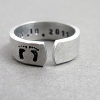 New Mom New Baby - Hand Stamped and Hammered Aluminum Ring - Personalized with Birthdate
