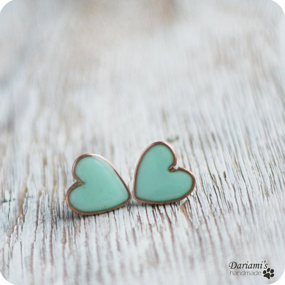 Post earrings Mint green Hearts by Dariami on Etsy