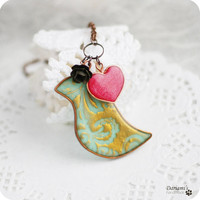Romantic necklace Mint and bronze bird with red heart by Dariami