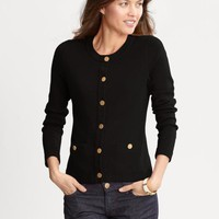Gold button sweater jacket | Banana Republic