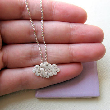 Sterling silver  Cloud necklace  Small by lunahoo on Etsy