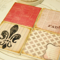 Valentine's Day Coasters, Paris Theme, Amour, Love, 4X4 Tiles, Cork Bottoms