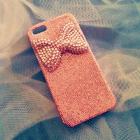 iPhone 5 Girly Pink Glitter with Big Crystal Bling Bow 3D case