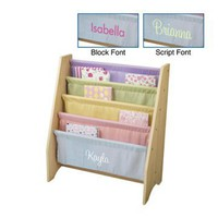 KidKraft 4 Shelf Pastel Colored Sling Bookshelf with Personalization - Kids Furniture at Hayneedle