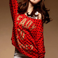Cute Fashion Young Persons Red Knit Blouses : Wholesaleclothing4u.com