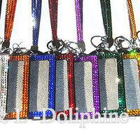 Colorful Rhinestone Crystal Bling Neck LANYARDs Key Chain Key Holder & ID Badge Holder (15 Colors)