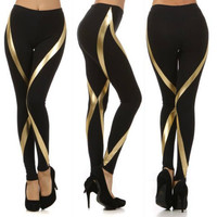 S M L LEGGINGS SHINY GOLD METALLIC RIBBON SWIRL PANEL KNIT BLACK PANTS STRETCH