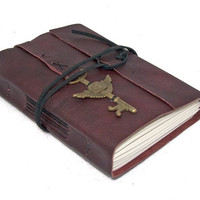 Burgundy Leather Journal with Winged Clock Key Bookmark