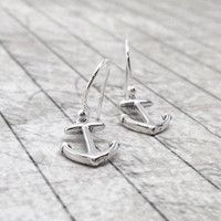 Anchor Earrings Sterling Silver by GirlBurkeStudios on Etsy