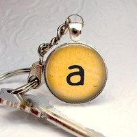 Old Type Keychain - Typewriter Key - Glass Art Silver Keychain Picture Pendant Keychain Photo Keychain Art Keychain Handcrafted